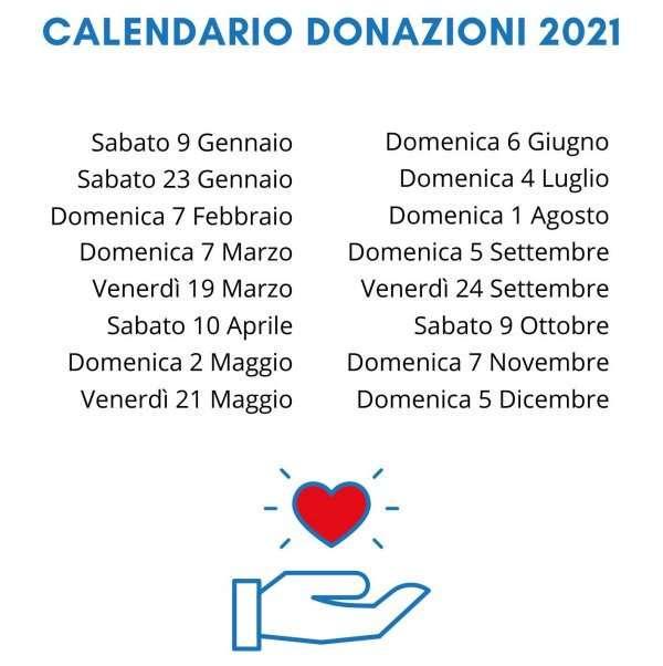 Calendario 2021 donazioni di sangue presso AVIS Campagnano